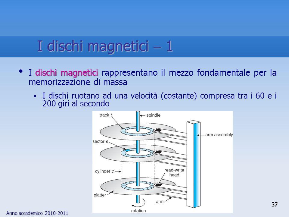 Anno accademico 2010-2011 37 dischi magnetici I dischi magnetici rappresentano il mezzo fondamentale per la memorizzazione di massa  I dischi ruotano