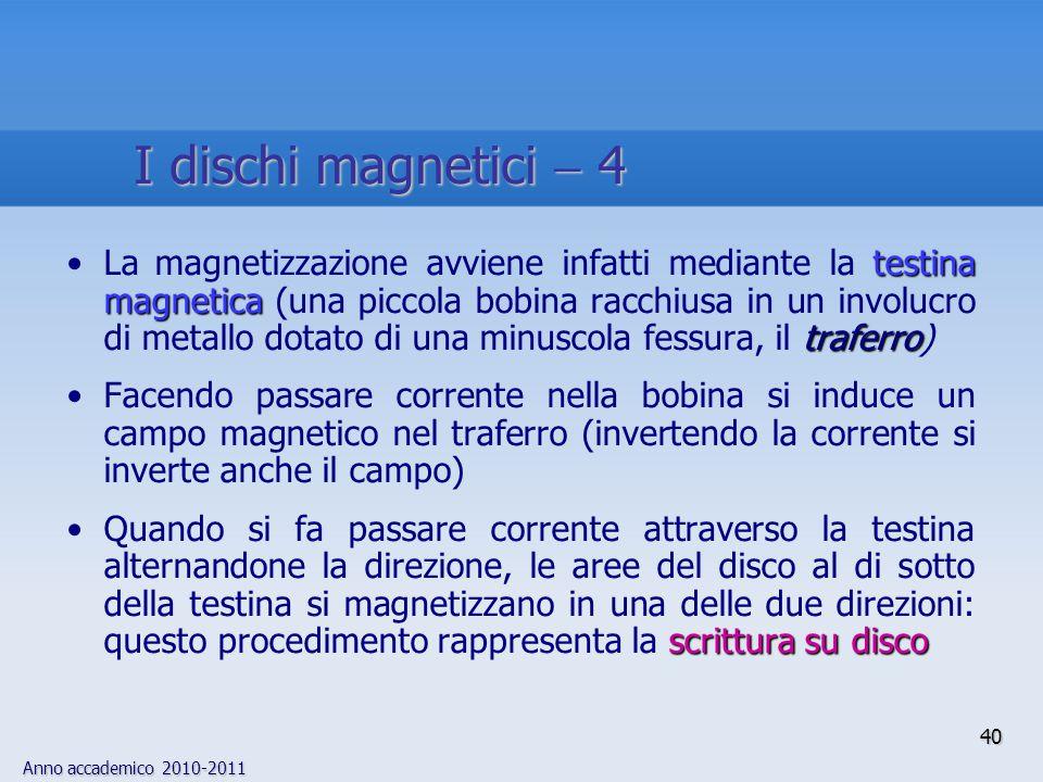 Anno accademico 2010-2011 40 testina magnetica traferroLa magnetizzazione avviene infatti mediante la testina magnetica (una piccola bobina racchiusa