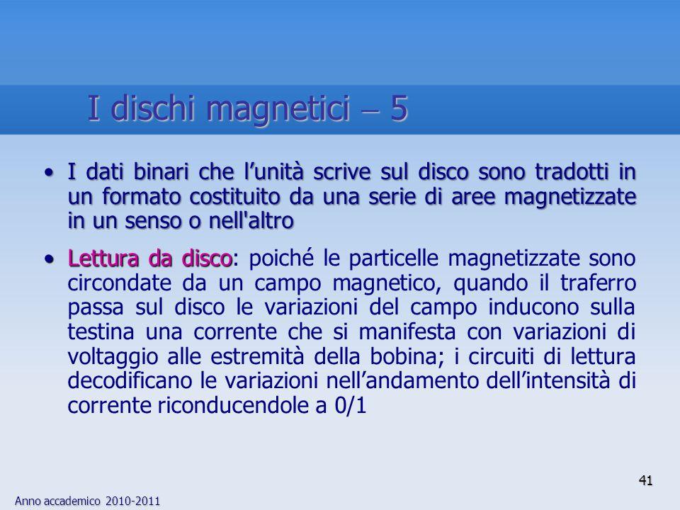 Anno accademico 2010-2011 41 I dati binari che l'unità scrive sul disco sono tradotti in un formato costituito da una serie di aree magnetizzate in un