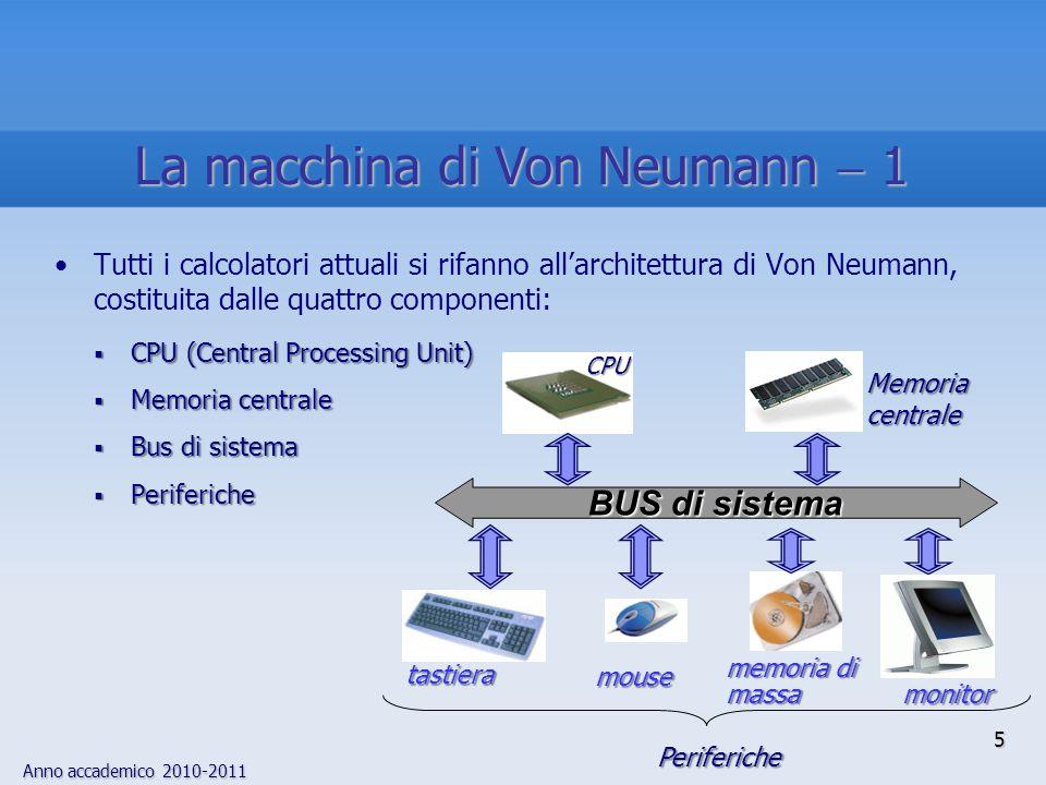 Anno accademico 2010-2011 5 Tutti i calcolatori attuali si rifanno all'architettura di Von Neumann, costituita dalle quattro componenti:  CPU (Centra