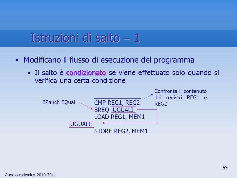 Anno accademico 2010-2011 53 Modificano il flusso di esecuzione del programma condizionato  Il salto è condizionato se viene effettuato solo quando s