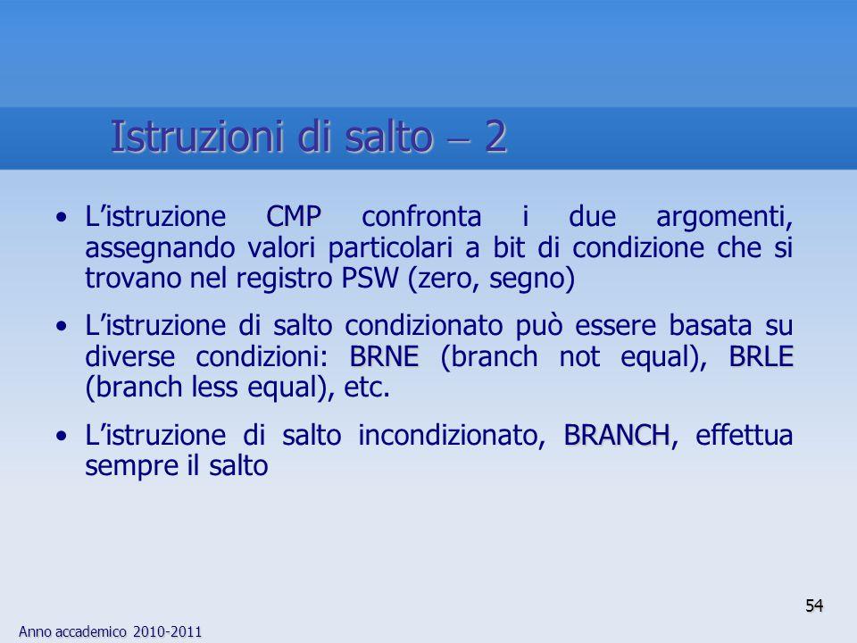 Anno accademico 2010-2011 54 CMPL'istruzione CMP confronta i due argomenti, assegnando valori particolari a bit di condizione che si trovano nel regis