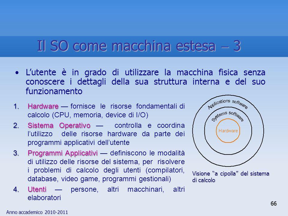 Anno accademico 2010-2011 66 L'utente è in grado di utilizzare la macchina fisica senza conoscere i dettagli della sua struttura interna e del suo fun