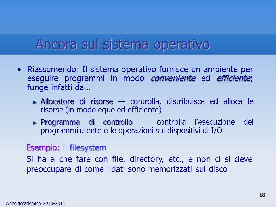Anno accademico 2010-2011 68 convenienteefficienteRiassumendo: Il sistema operativo fornisce un ambiente per eseguire programmi in modo conveniente ed