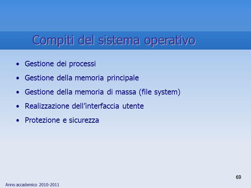 Anno accademico 2010-2011 69 Gestione dei processi Gestione della memoria principale Gestione della memoria di massa (file system) Realizzazione dell'