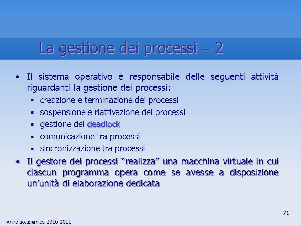 Anno accademico 2010-2011 71 Il sistema operativo è responsabile delle seguenti attività riguardanti la gestione dei processi:  creazione e terminazi