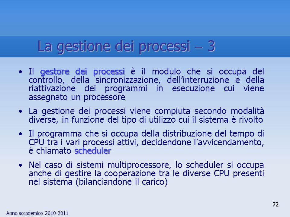 Anno accademico 2010-2011 72 gestore dei processiIl gestore dei processi è il modulo che si occupa del controllo, della sincronizzazione, dell'interru