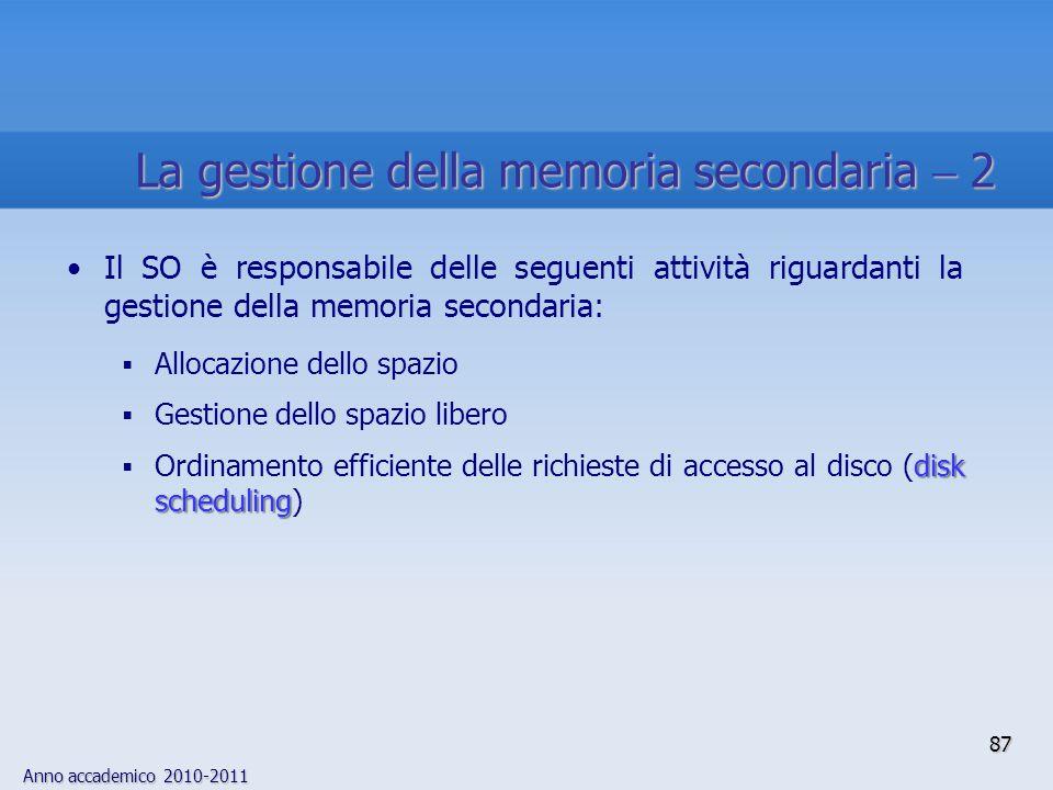 Anno accademico 2010-2011 87 Il SO è responsabile delle seguenti attività riguardanti la gestione della memoria secondaria:  Allocazione dello spazio