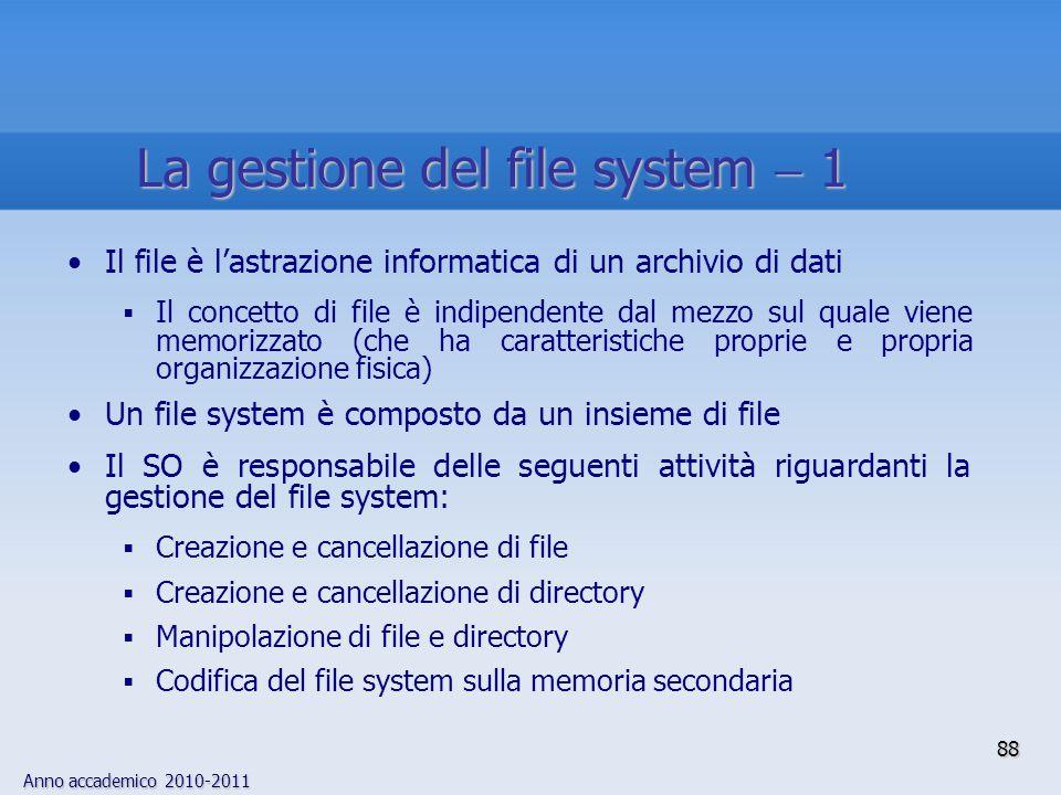 Anno accademico 2010-2011 88 Il file è l'astrazione informatica di un archivio di dati  Il concetto di file è indipendente dal mezzo sul quale viene