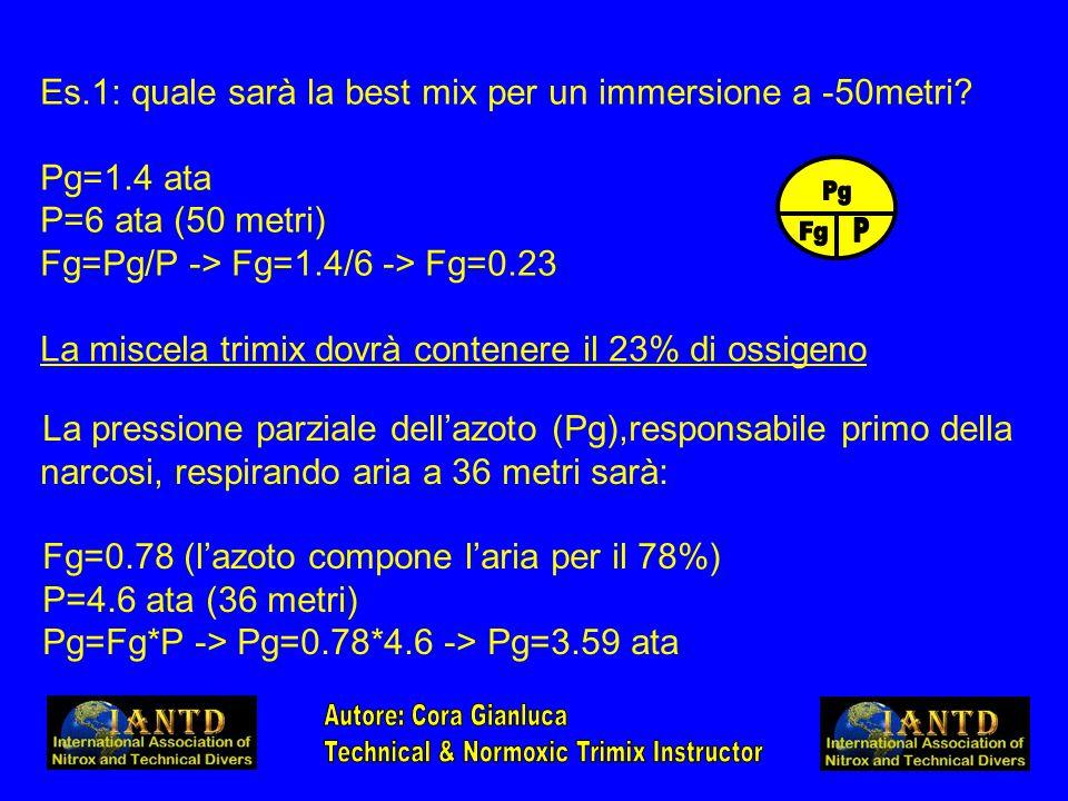 La pressione parziale dell'azoto (Pg),responsabile primo della narcosi, respirando aria a 36 metri sarà: Fg=0.78 (l'azoto compone l'aria per il 78%) P=4.6 ata (36 metri) Pg=Fg*P -> Pg=0.78*4.6 -> Pg=3.59 ata Es.1: quale sarà la best mix per un immersione a -50metri.