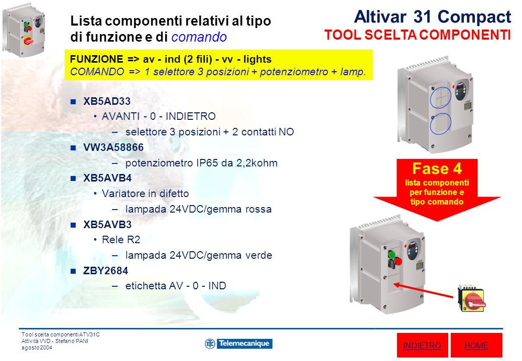 Tool scelta componenti ATV31C Attività VVD - Stefano PANI agosto 2004 XB5AD33 AVANTI - 0 - INDIETRO –selettore 3 posizioni + 2 contatti NO VW3A58866 –potenziometro IP65 da 2,2kohm XB5AVB4 Variatore in difetto –lampada 24VDC/gemma rossa XB5AVB3 Rele R2 –lampada 24VDC/gemma verde ZBY2684 –etichetta AV - 0 - IND Fase 4 lista componenti per funzione e tipo comando Altivar 31 Compact TOOL SCELTA COMPONENTI Lista componenti relativi al tipo di funzione e di comando HOME FUNZIONE => av - ind (2 fili) - vv - lights COMANDO => 1 selettore 3 posizioni + potenziometro + lamp.