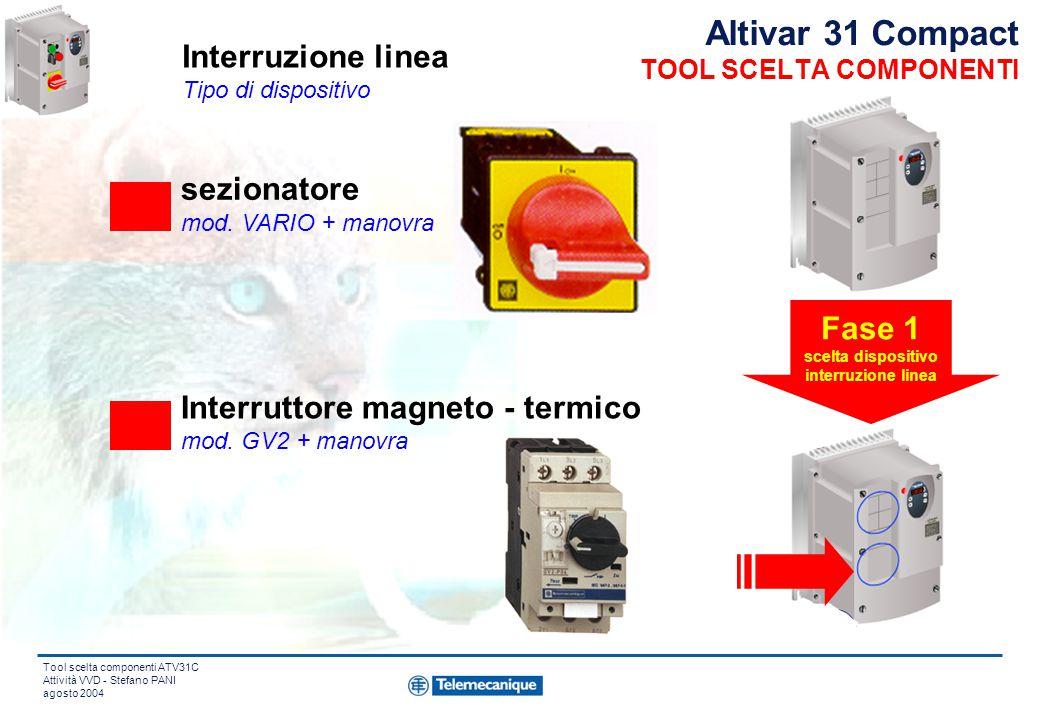 Tool scelta componenti ATV31C Attività VVD - Stefano PANI agosto 2004 Altivar 31 Compact TOOL SCELTA COMPONENTI sezionatore mod.