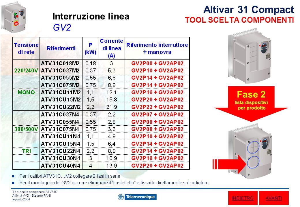 Tool scelta componenti ATV31C Attività VVD - Stefano PANI agosto 2004 Altivar 31 Compact TOOL SCELTA COMPONENTI av - ind (2 fili) - vv - light 2 selettori + potenziometro + lampada Funzione Tipo comando av - ind - stop (3 fili) - vv 3 pulsanti + potenziometro av - ind (2 fili) - 2 / 4 vprsl 4 selettori av - ind (2 fili) - vv - lights 1 selettore 3 posizioni + potenziometro + lampade Fase 3 scelta funzione e tipo comando