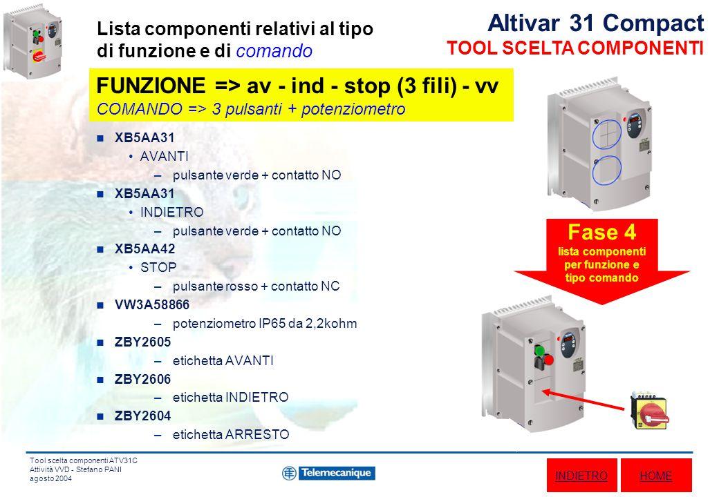 Tool scelta componenti ATV31C Attività VVD - Stefano PANI agosto 2004 XB5AA31 AVANTI –pulsante verde + contatto NO XB5AA31 INDIETRO –pulsante verde + contatto NO XB5AA42 STOP –pulsante rosso + contatto NC VW3A58866 –potenziometro IP65 da 2,2kohm ZBY2605 –etichetta AVANTI ZBY2606 –etichetta INDIETRO ZBY2604 –etichetta ARRESTO Fase 4 lista componenti per funzione e tipo comando Altivar 31 Compact TOOL SCELTA COMPONENTI Lista componenti relativi al tipo di funzione e di comando HOMEINDIETRO FUNZIONE => av - ind - stop (3 fili) - vv COMANDO => 3 pulsanti + potenziometro