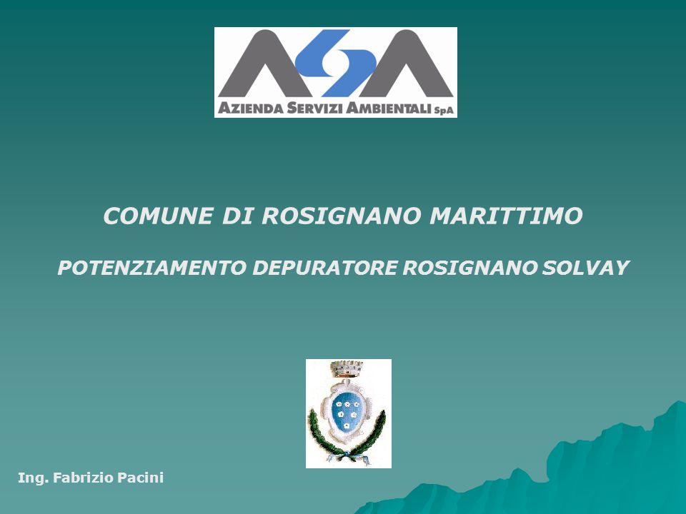 COMUNE DI ROSIGNANO MARITTIMO POTENZIAMENTO DEPURATORE ROSIGNANO SOLVAY Ing. Fabrizio Pacini