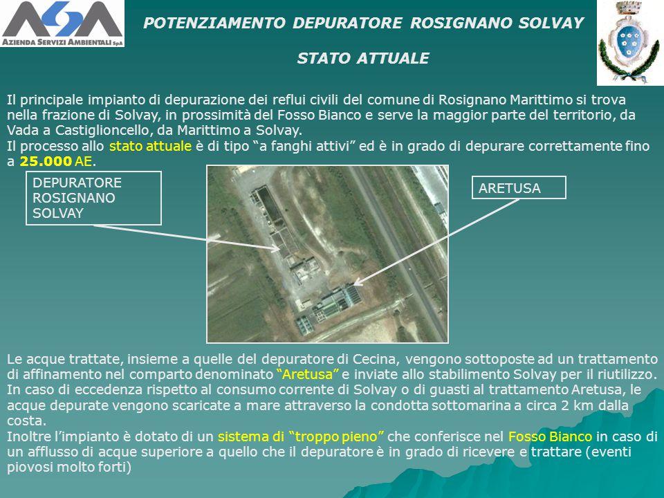 Il principale impianto di depurazione dei reflui civili del comune di Rosignano Marittimo si trova nella frazione di Solvay, in prossimità del Fosso B