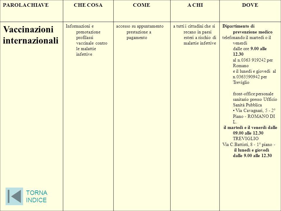 PAROLA CHIAVECHE COSACOMEA CHIDOVE Vaccinazioni internazionali Informazioni e prenotazione profilassi vaccinale contro le malattie infettive accesso s