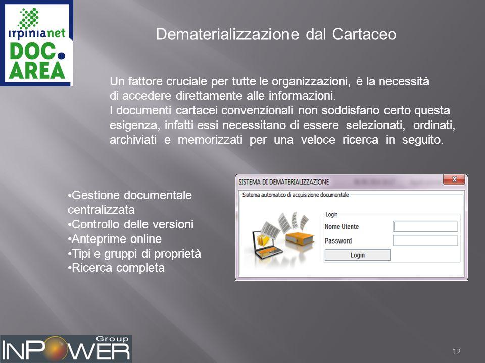 12 Dematerializzazione dal Cartaceo Un fattore cruciale per tutte le organizzazioni, è la necessità di accedere direttamente alle informazioni.