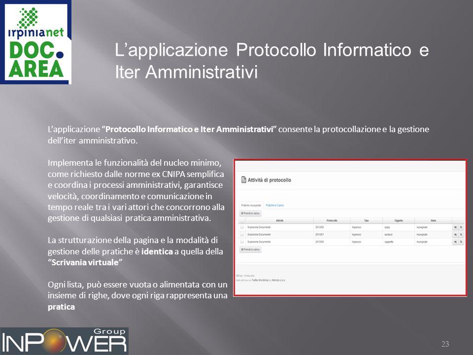 23 L'applicazione Protocollo Informatico e Iter Amministrativi L'applicazione Protocollo Informatico e Iter Amministrativi consente la protocollazione e la gestione dell'iter amministrativo.