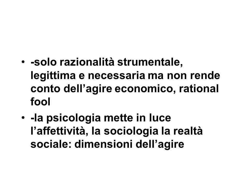 -solo razionalità strumentale, legittima e necessaria ma non rende conto dell'agire economico, rational fool -la psicologia mette in luce l'affettività, la sociologia la realtà sociale: dimensioni dell'agire
