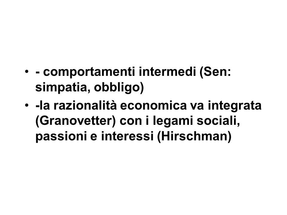- comportamenti intermedi (Sen: simpatia, obbligo) -la razionalità economica va integrata (Granovetter) con i legami sociali, passioni e interessi (Hirschman)