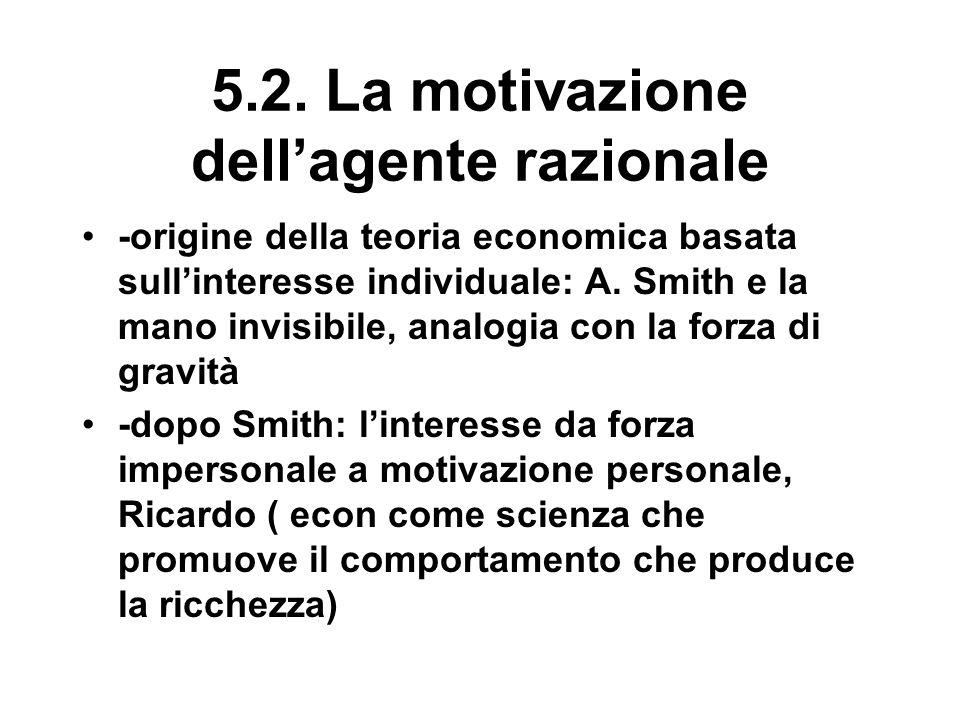 5.2. La motivazione dell'agente razionale -origine della teoria economica basata sull'interesse individuale: A. Smith e la mano invisibile, analogia c