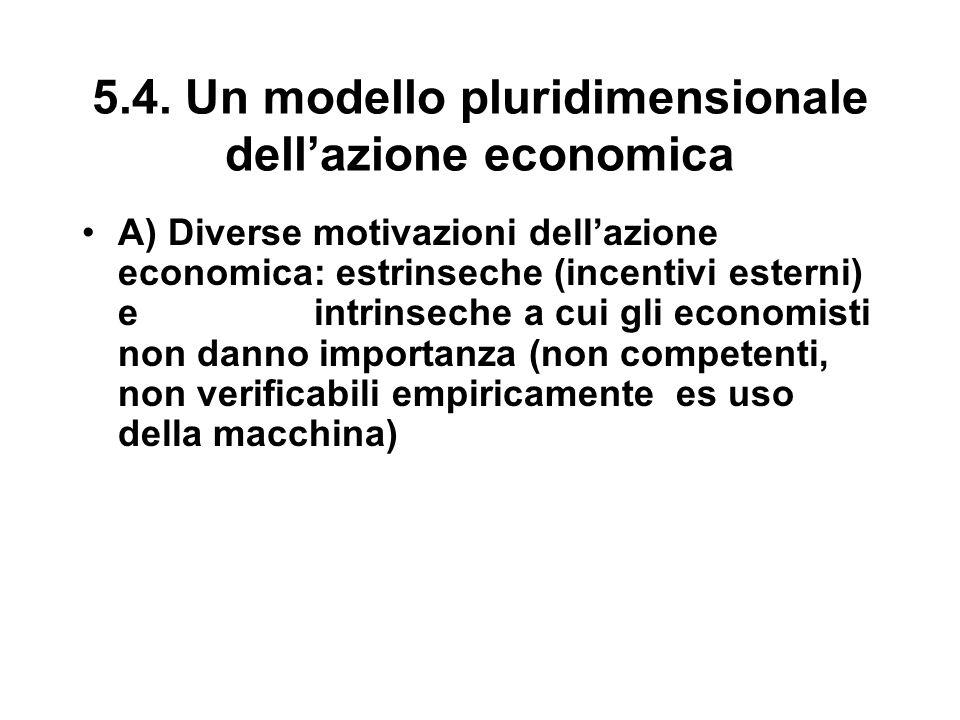 5.4. Un modello pluridimensionale dell'azione economica A) Diverse motivazioni dell'azione economica: estrinseche (incentivi esterni) e intrinseche a