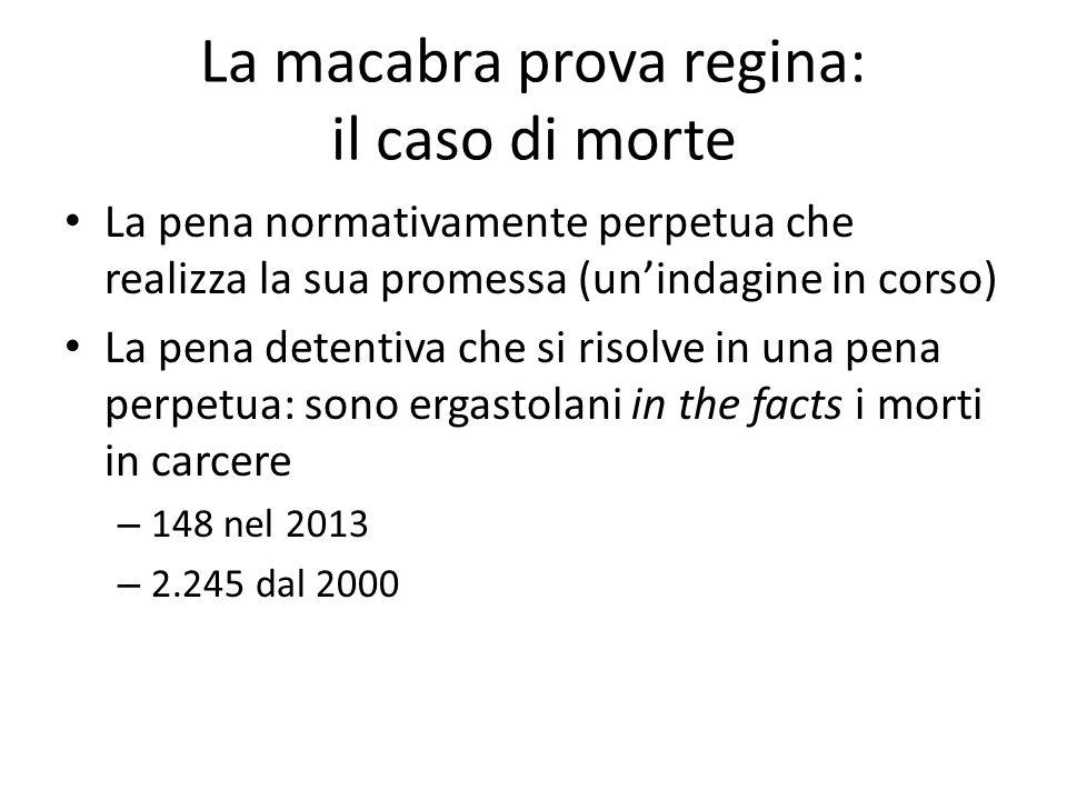 La macabra prova regina: il caso di morte La pena normativamente perpetua che realizza la sua promessa (un'indagine in corso) La pena detentiva che si risolve in una pena perpetua: sono ergastolani in the facts i morti in carcere – 148 nel 2013 – 2.245 dal 2000