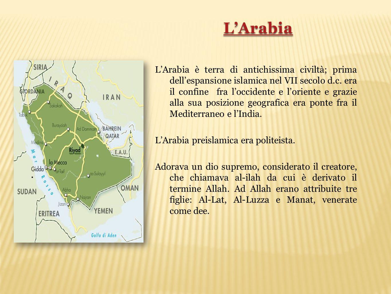 . L'Arabia è terra di antichissima civiltà; prima dell'espansione islamica nel VII secolo d.c. era il confine fra l'occidente e l'oriente e grazie all