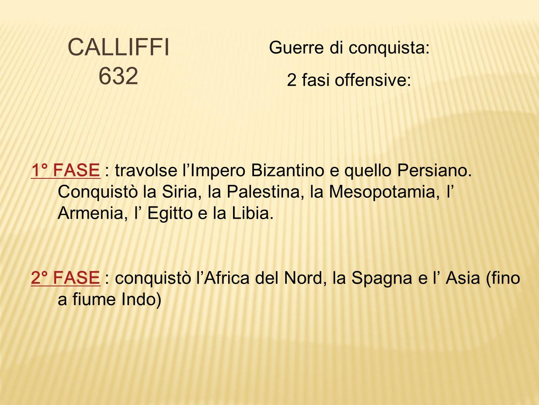 CALLIFFI 632 Guerre di conquista: 2 fasi offensive: 1° FASE1° FASE : travolse l'Impero Bizantino e quello Persiano. Conquistò la Siria, la Palestina,
