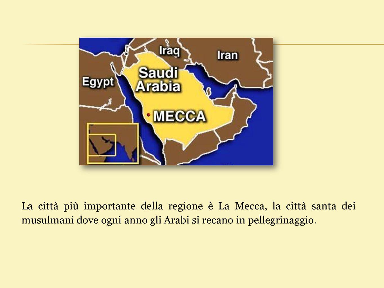 La città più importante della regione è La Mecca, la città santa dei musulmani dove ogni anno gli Arabi si recano in pellegrinaggio.