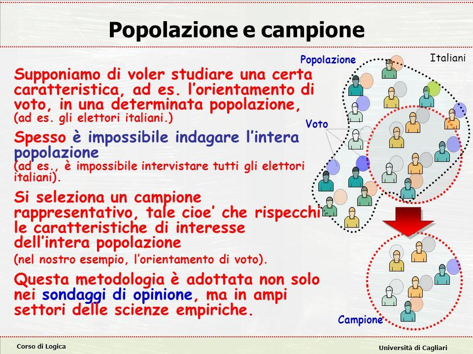 Corso di Logica Università di Cagliari Popolazione e campione Supponiamo di voler studiare una certa caratteristica, ad es.
