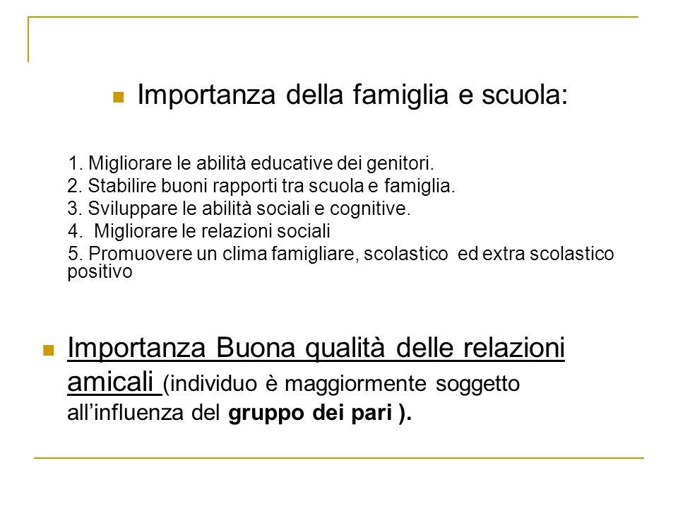 Importanza della famiglia e scuola: 1. Migliorare le abilità educative dei genitori. 2. Stabilire buoni rapporti tra scuola e famiglia. 3. Sviluppare