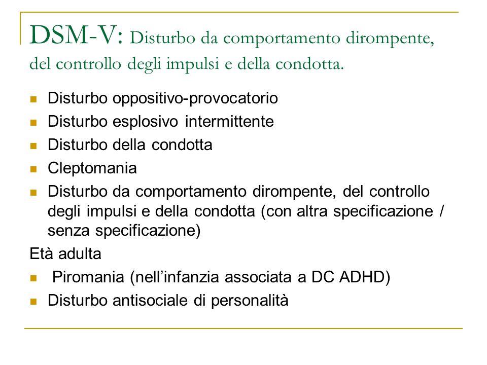 DSM-V: Disturbo da comportamento dirompente, del controllo degli impulsi e della condotta. Disturbo oppositivo-provocatorio Disturbo esplosivo intermi