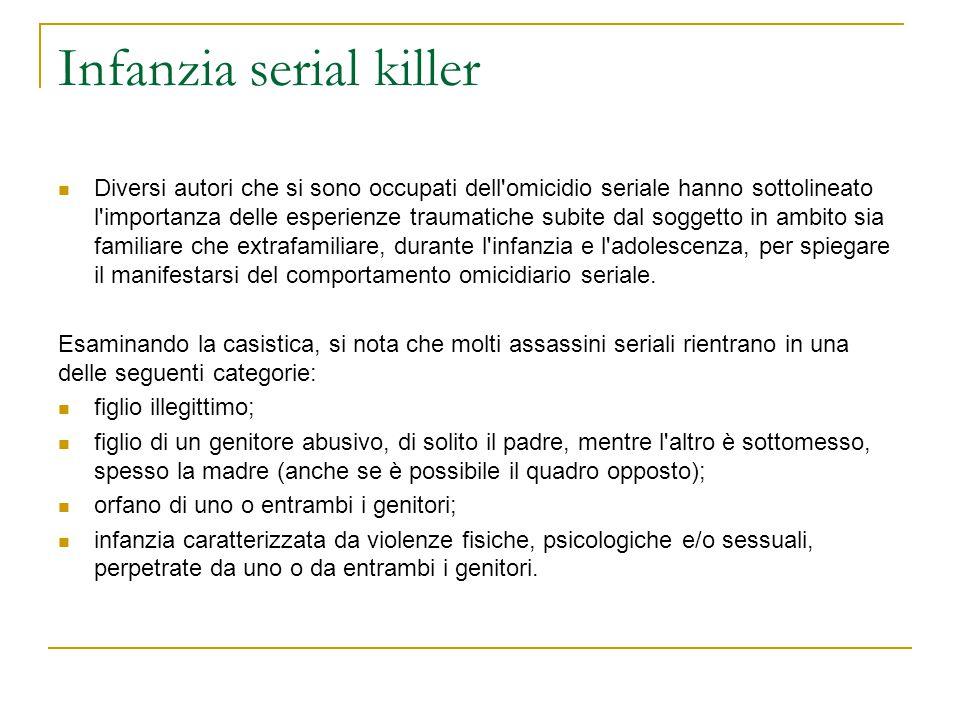 Infanzia serial killer Diversi autori che si sono occupati dell'omicidio seriale hanno sottolineato l'importanza delle esperienze traumatiche subite d