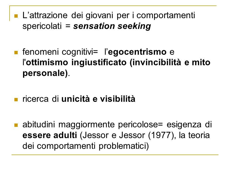 L'attrazione dei giovani per i comportamenti spericolati = sensation seeking fenomeni cognitivi= l'egocentrismo e l'ottimismo ingiustificato (invincib