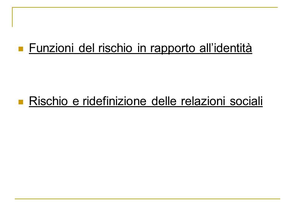 Funzioni del rischio in rapporto all'identità Rischio e ridefinizione delle relazioni sociali