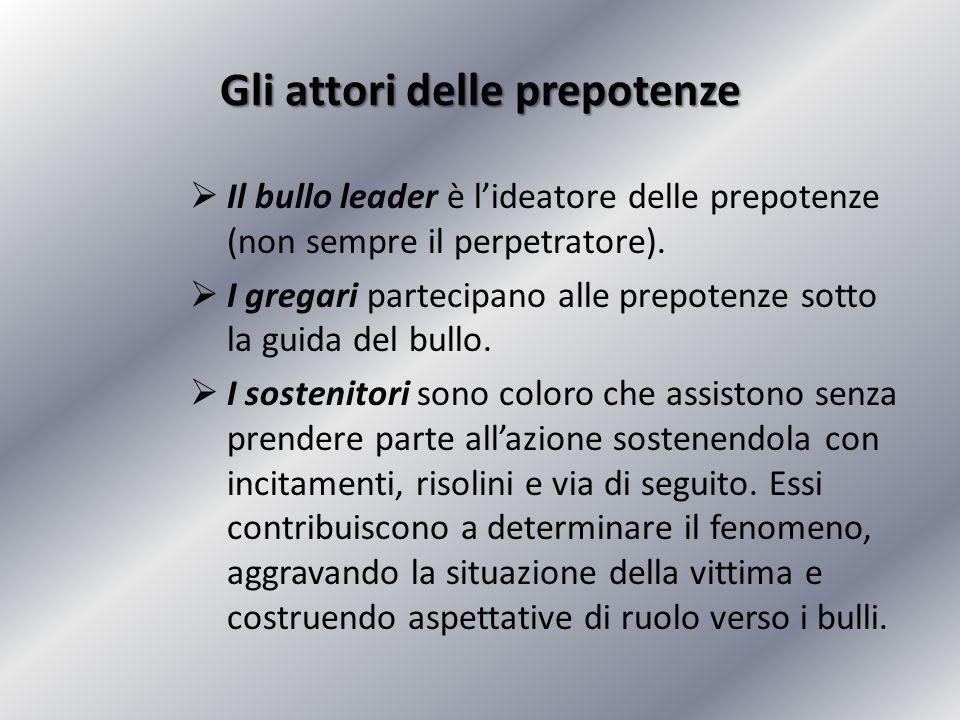 Gli attori delle prepotenze  Il bullo leader è l'ideatore delle prepotenze (non sempre il perpetratore).  I gregari partecipano alle prepotenze sott