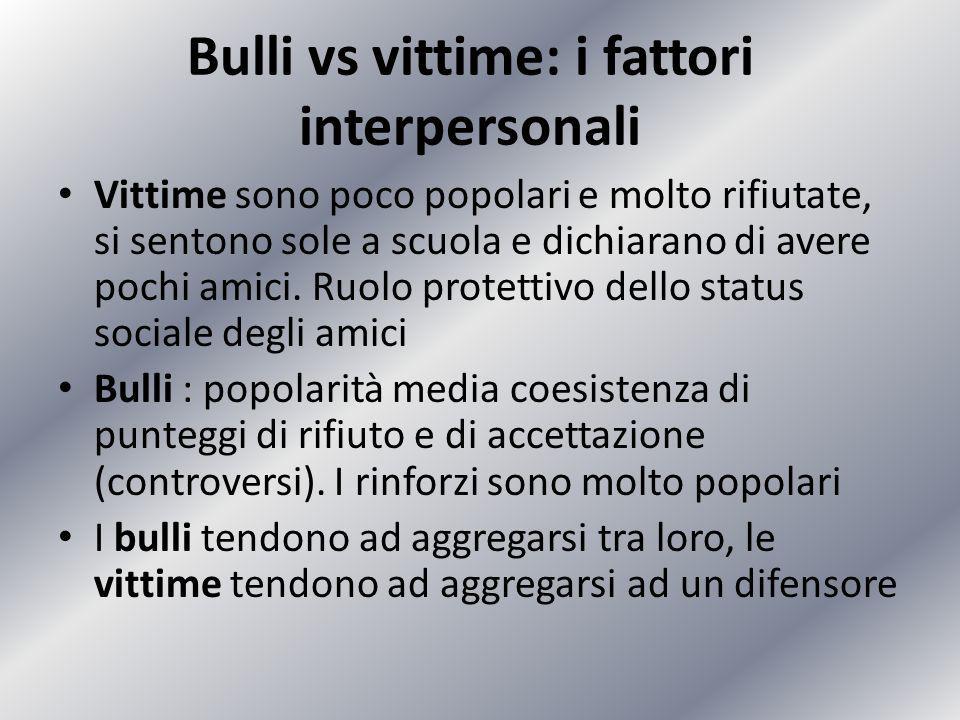 Bulli vs vittime: i fattori interpersonali Vittime sono poco popolari e molto rifiutate, si sentono sole a scuola e dichiarano di avere pochi amici. R