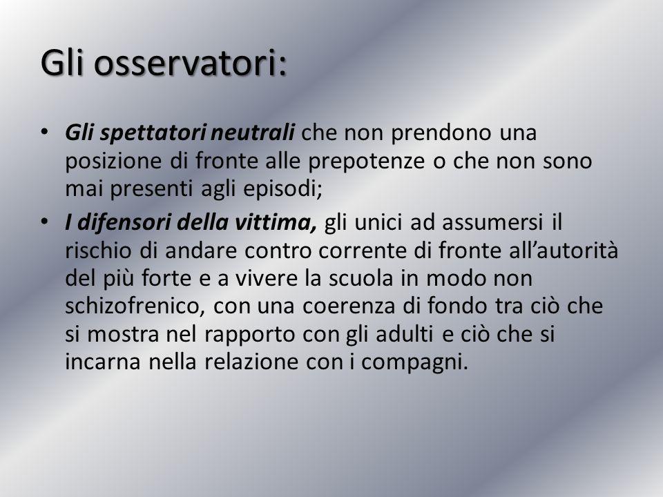 Gli osservatori: Gli spettatori neutrali che non prendono una posizione di fronte alle prepotenze o che non sono mai presenti agli episodi; I difensor