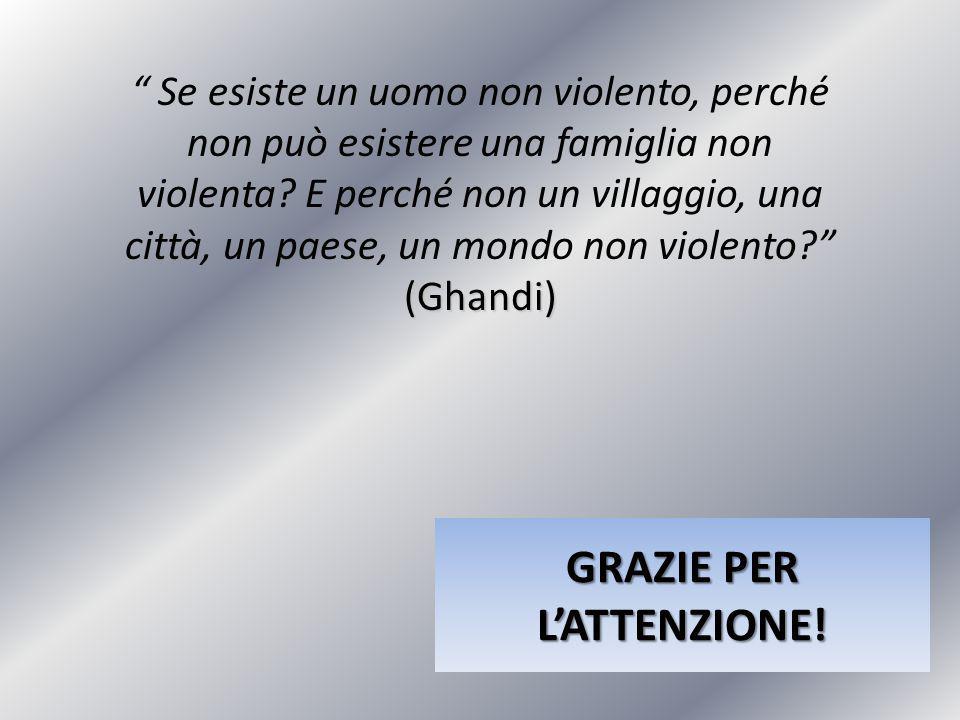 """GRAZIE PER L'ATTENZIONE! (Ghandi) """" Se esiste un uomo non violento, perché non può esistere una famiglia non violenta? E perché non un villaggio, una"""