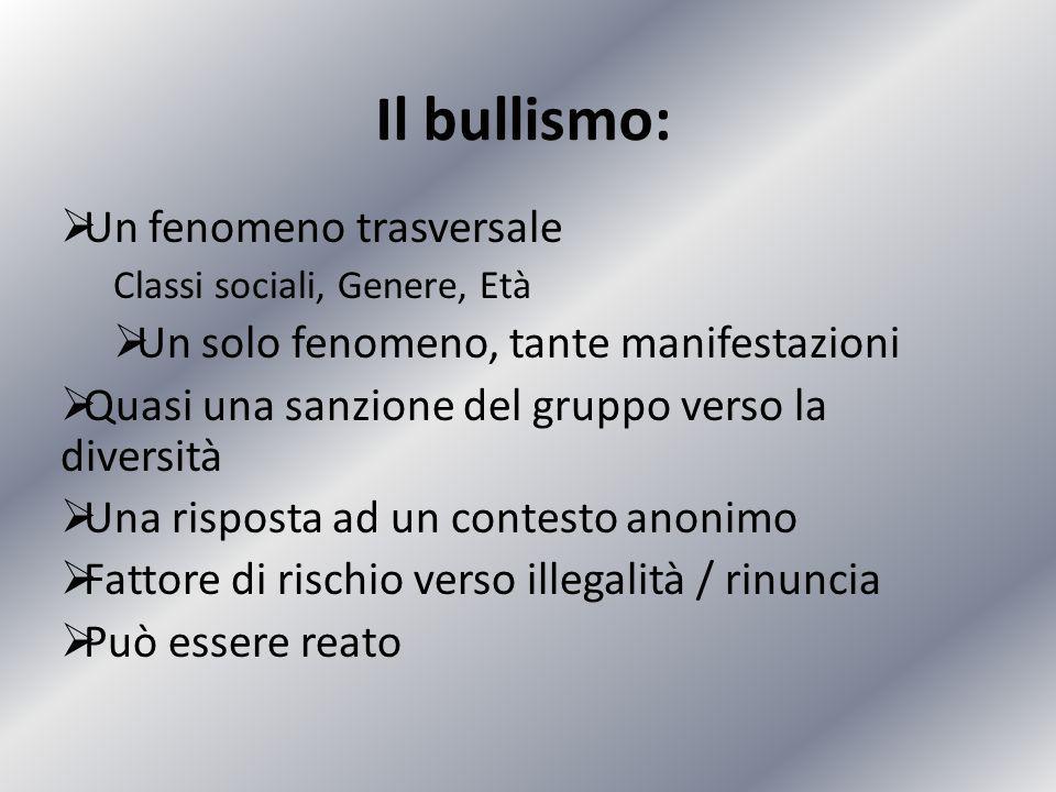 Il bullismo:  Un fenomeno trasversale Classi sociali, Genere, Età  Un solo fenomeno, tante manifestazioni  Quasi una sanzione del gruppo verso la d