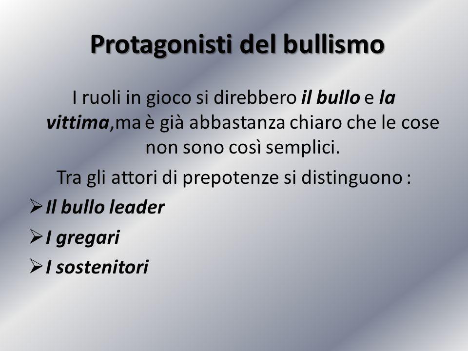 Gli attori delle prepotenze  Il bullo leader è l'ideatore delle prepotenze (non sempre il perpetratore).