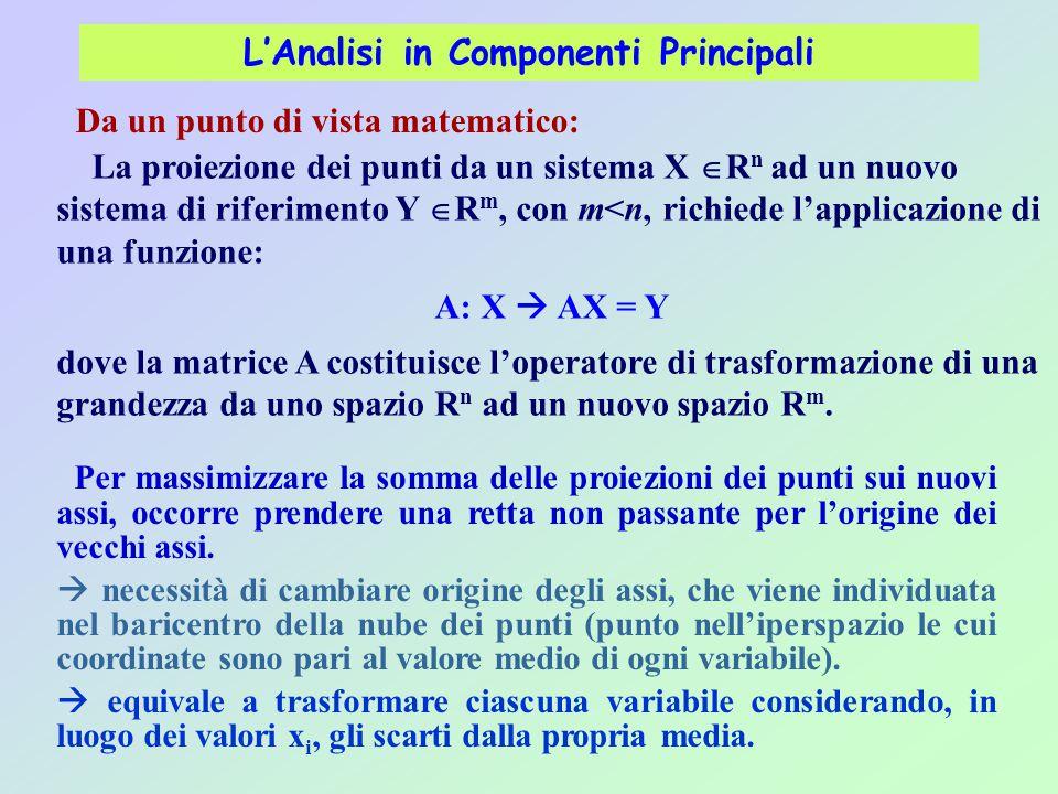 L'Analisi in Componenti Principali Da un punto di vista matematico: La proiezione dei punti da un sistema X  R n ad un nuovo sistema di riferimento Y  R m, con m<n, richiede l'applicazione di una funzione: A: X  AX = Y dove la matrice A costituisce l'operatore di trasformazione di una grandezza da uno spazio R n ad un nuovo spazio R m.