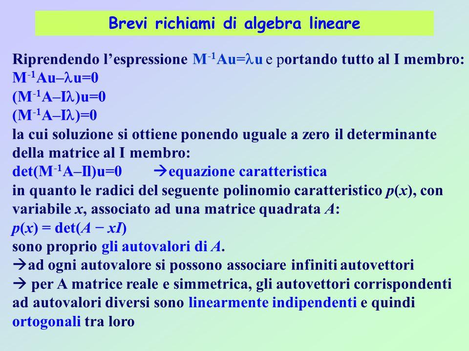Brevi richiami di algebra lineare Riprendendo l'espressione M -1 Au= u e portando tutto al I membro: M -1 Au– u=0 (M -1 A–I )u=0 (M -1 A–I )=0 la cui