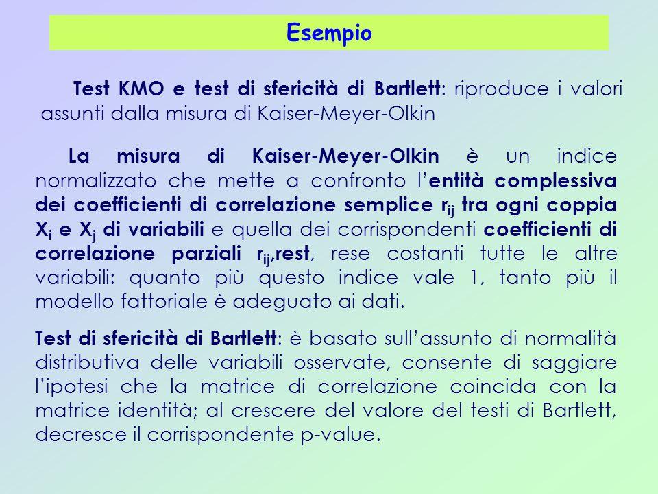 Esempio Test KMO e test di sfericità di Bartlett : riproduce i valori assunti dalla misura di Kaiser-Meyer-Olkin La misura di Kaiser-Meyer-Olkin è un