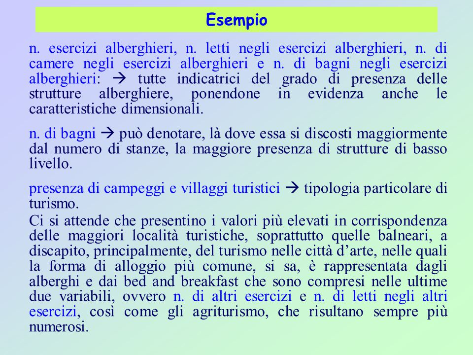 Esempio n.esercizi alberghieri, n. letti negli esercizi alberghieri, n.
