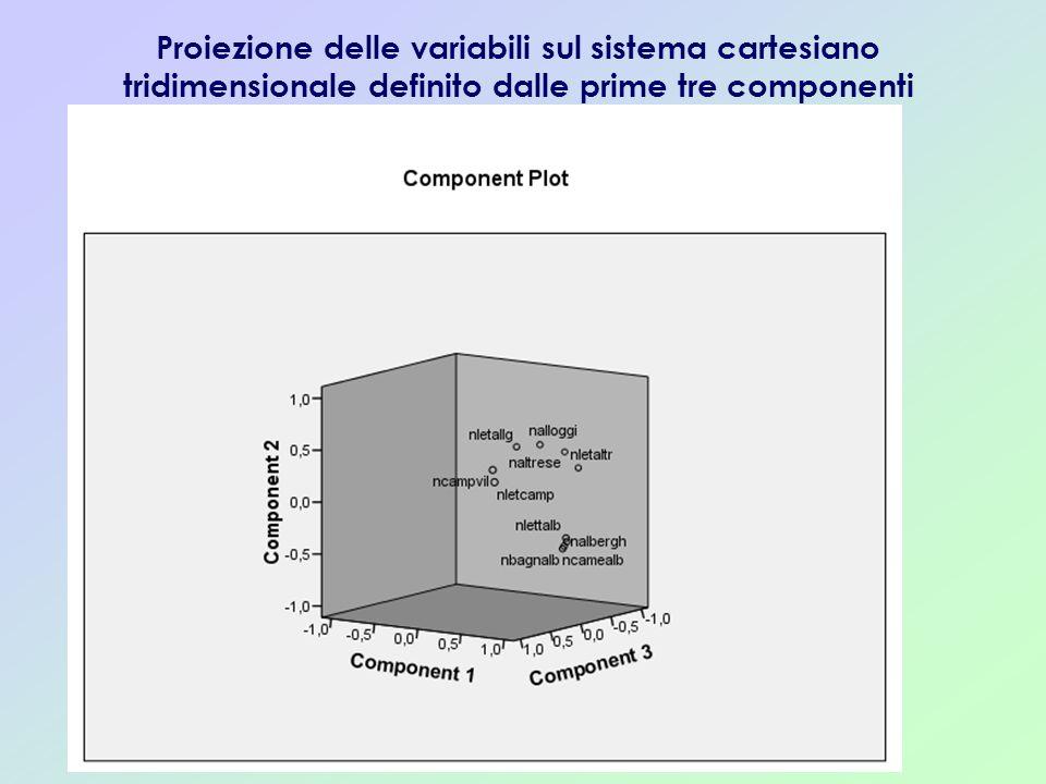 Proiezione delle variabili sul sistema cartesiano tridimensionale definito dalle prime tre componenti