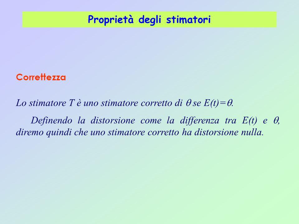 Proprietà degli stimatori Lo stimatore T è uno stimatore corretto di  se E(t)= . Definendo la distorsione come la differenza tra E(t) e , diremo qu