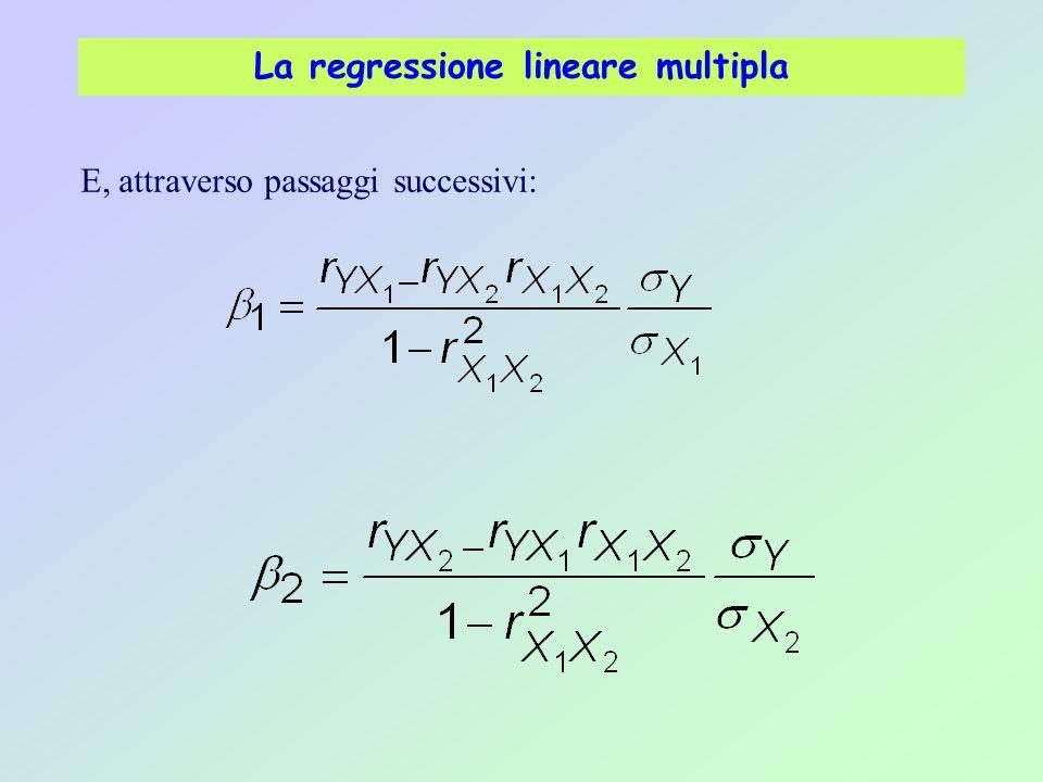 La regressione lineare multipla E, attraverso passaggi successivi: